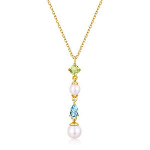 Round Pearl Drop Pendant Silver Topaz And Peridot